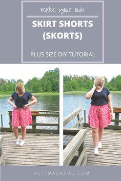 Plus size DIY. Skirt shorts. Skorts.