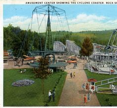 Amusement Center showing the Cyclone Coaster, Rock Springs Park, Chester, West Virginia :: General