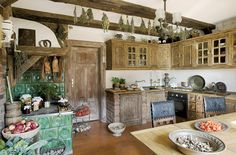 Rustic kitchen at Koneser House bed & breakfast Poland. Bohemian Bathroom, Bohemian Kitchen, Bohemian Bedrooms, Barn Kitchen, Kitchen Dining, Kitchen Ideas, Nice Kitchen, Country Kitchen, House Beds