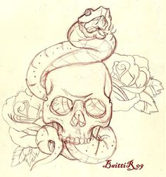 Skull and snake _sketch_ by Baitti.deviantart.com on @deviantART