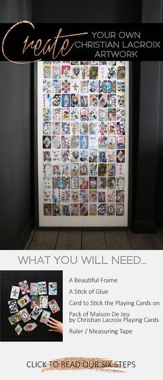 With an empty frame, a deck of cards and a stick of glue - Discover the six simple steps you need to create your own piece of unique artwork. Empty Frames, Do It Yourself Projects, Christian Lacroix, Christian Living, Deck Of Cards, Picture Frames, Create Your Own, Diys, Photo Wall