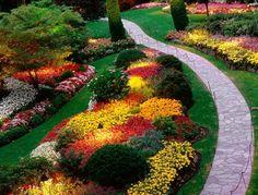 aménagement jardin allée de jardin fleurs décoration