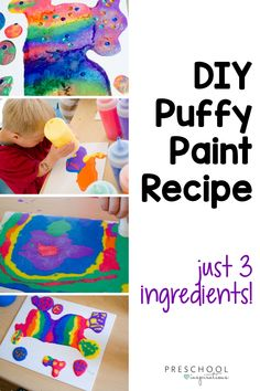 Do you know how EASY it is to make puffy paint?! There's just three simple ingredients in the recipe, and they can all be found at the dollar store! DIY puffy paint makes great art projects in preschool or kindergarten! Spring Crafts For Kids, Diy Crafts For Kids, Art For Kids, Kid Art, Fun Crafts, Toddler Art, Toddler Crafts, Paper Plate Crafts, Paper Plates