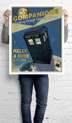 Doctor Who Traveling Companions poster. Are you someone who thinks outside the box? Maybe a flying blue box that travels through space and time? Personalize this one-of-a-kind Tardis Companion print with your names and date.