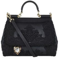 Dolce & Gabbana Macramé Lace Top Handle Bag (127 280 UAH) ❤ liked on Polyvore featuring bags, handbags, handle handbags, handle bag, lace purse, lace handbag and black lace purse