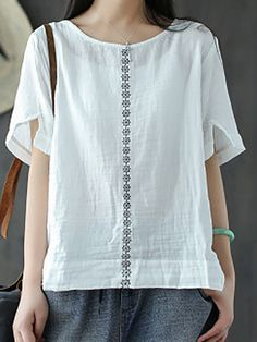 fe2af413bf Buy Linen Tops For Women from VIVID LINEN at Stylewe. Online Shopping Crew  Neck Casual