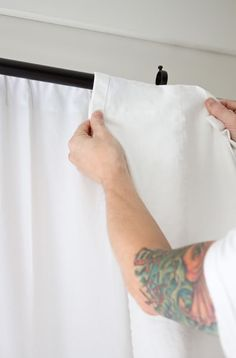 No sew way to turn tab top curtains into rod pocket curtains. Shows with IKEA Lenda curtains. Tab Top Curtains, Ikea Curtains, Long Curtains, Rod Pocket Curtains, Window Curtains, Sewing Pockets, Window Coverings, Window Treatments, Curtain Fabric