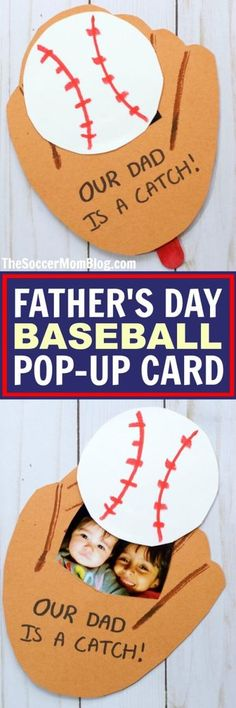 This adorable Baseball Glove Father's Day Card is perfect kid-made keepsake for the sports-loving dad! An easy paper craft or birthday card idea.