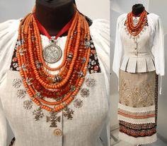 Traditional Ukrainian coral bead necklace (korali) with zgards (forged cross-shaped pendants) and a dukach (a large coin pendant)