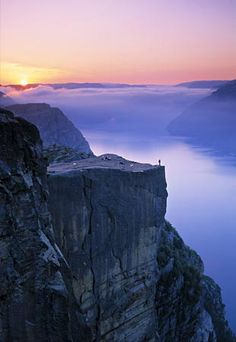 Sunrise at Preikestolen, near Stavanger Norway~ Pulpit Rock ROCKS!