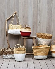 Dip-Dyed Baskets- Dip Old baskets in Latex - you're a genius Martha Stewart