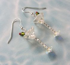Martini Glasses Earrings with Olive and a Pimento - Artisan - Free US Shipping…