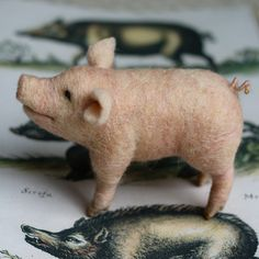 """""""Some pig""""; """"Terrific""""--Charlotte, E. B. White, Charlotte's Web. Just listed. Link in profile to purchase. . . . . . . . . . . . . . #farmanimal #felted #woolsculpture #needlefelting #needlfelted #countrylife #barnyard #pig #schwein #lovewhatyoudo #charlottesweb #childrensliterature #johnderianpicturebook #boar #farmhouse #farmhousedecor #interiordecor"""