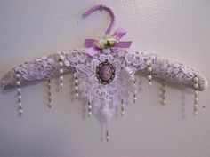 Lavender Rain of Pearls-victorian hanger, padded hanger, satin hanger, home decor, lavender hanger