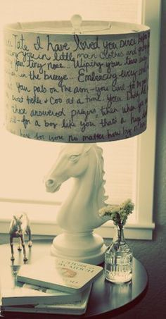 This is such a cool lamp! Write whatever you want on it, or maybe even get a shade with a cityscape on it.