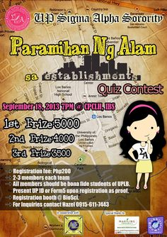 Sponsoring this year's UPLB Paramihan ng Alam on Sept. 18 by UP Sigma Alpha Sorority & the Women's Dorm.