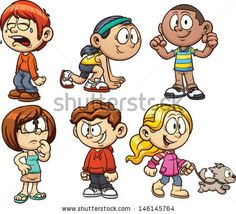Cute cartoon kids Vector illustration with simple gradients Each on a separate layer