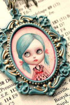 Reserved for toysforme custom Blue Blythe cameo por mabgraves