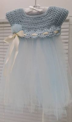 Crochet and Tulle Baby Dress - Free Pattern by sadie