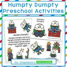 Humpty Dumpty Preschool Activity by Ms Stephanies Preschool Nursery Rhymes Preschool, Preschool Classroom, Preschool Activities, Kindergarten, Circle Time Activities, Humpty Dumpty, Literacy Skills, Early Childhood Education, Early Learning