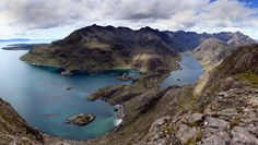 Loch Coruisk to the Cuillin ridge from the summit of Sgurr na Stri. Isle of Skye