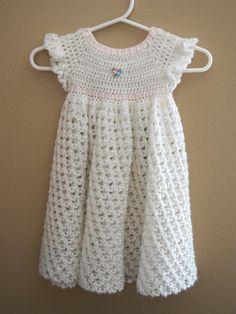 White Crochet Infant/Baby/Newborn Dress Blessing by LadyLuluBug, $24.00