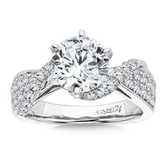 Caro74 - Grand Opulance Collection 6-Prong Criss Cross Diamond Engagement Ring in 14K White Gold