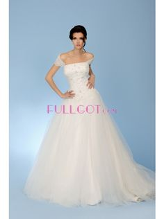Square Chapel Train Tulle Ball Gown Wedding Dress