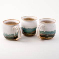 Blue Eagle Pottery Stoneware Mugs - White