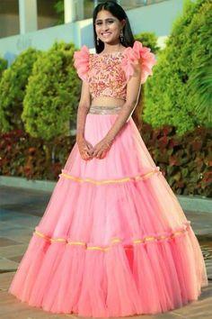 964d5e9de97830 Exclusive Pink Colored Three Layers Ruffle Lehenga With Beautiful Crop Top.  Beautiful Pista Lehenga with