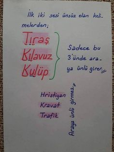 Words with consonants in first two letters - dilbilgisi - Karma, Turkish Lessons, Learn Turkish, Good Sentences, Grammar Rules, School Study Tips, Basic Math, Study Notes, Study Motivation