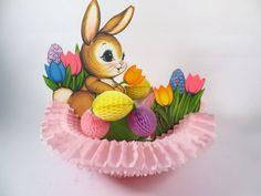 Vintage Beistle Easter Bunny Honeycomb Decoration - Honeycomb Easter Basket