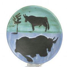 """Pablo Picasso """"toros"""" Plate, Madoura,1952, 7 5/8"""""""