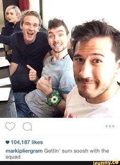 PewDiePie, Jacksepticeye, and Markiplier.