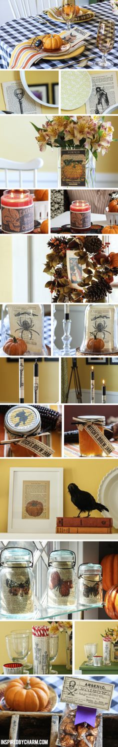 Fall decorating with vintage book pages. 12 Creative Ideas via Inspired by Charm