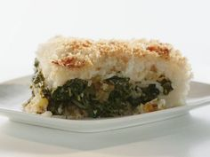 Cheesy Rice Cake Stuffed with Herbs and Greens Recipe : Rachael Ray : Food Network Rice And Green Peas Recipe, Green Chile Rice Recipe, Food Network Recipes, Cooking Recipes, Vegetarian Recipes, Cooking Channel Shows, Rachel Ray Recipes, Cheesy Rice, Green Bean Recipes