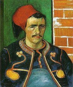 Vincent van Gogh: The Zouave (half length).  Oil on canvas.  Arles: June, 1888.  Amsterdam: Van Gogh Museum.