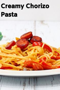 This creamy chorizo pasta recipe is perfect for a quick and easy midweek meal.It's a real comfort food pasta dish with a gorgeous creamy paprika flavour. Creamy Pasta Dishes, Creamy Pasta Recipes, Best Pasta Recipes, Dinner Recipes, Noodle Recipes, Amazing Recipes, Orzo, Midweek Meals, Easy Meals