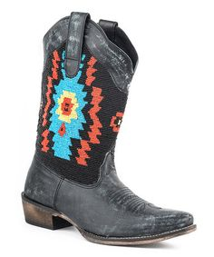 Look what I found on #zulily! Black Beaded Leather Cowboy Boot #zulilyfinds