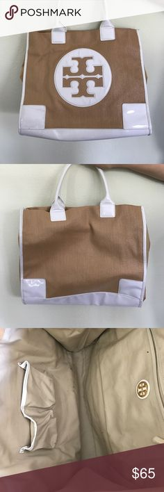 Large Tory Butch white and Rafia tote Tory Butch tote, slightly worn beach tote. One small stain on the side and slight wearing on inside. One handle is more worn. Other than that it looks great! Perfect beach tote! Tory Burch Bags Totes