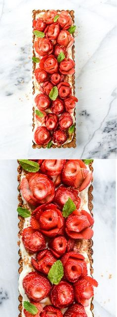 5 (FIVE!) Ingredient Strawberry Rose Tart by @how sweet eats I howsweeteats.com