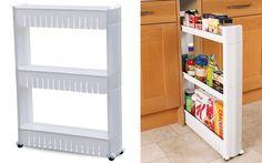 Ραφιέρα για την κουζίνα ή το μπάνιο με 3 ράφια και ρόδες – Slide out Storage Tower