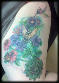My finished garden tattoo by Matt Mueller