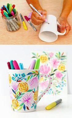 Flower DIY Sharpie Mug {Anthropologie Style!} Watercolor Flower DIY Sharpie Mug {Anthropologie Style!} - A Piece Of RainbowWatercolor Flower DIY Sharpie Mug {Anthropologie Style!} - A Piece Of Rainbow Sharpies, Sharpie Plates, Sharpie Paint Pens, Sharpie Crafts, Diy Sharpie Mug, Sharpie Art Projects, Sharpie Mug Designs, Fun Crafts For Kids, Crafts To Sell