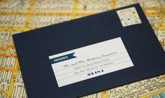 labels. great way to use a dark envelope.
