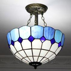 Sapphire Glow Tiffany Flush Mount Lamp