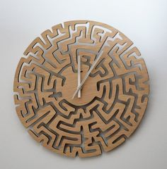 Large laser cut clock Large Maze clock wooden от DomusDecorClocks