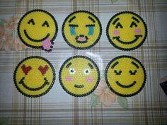 Emoji coaster set hama beads by lolo_28