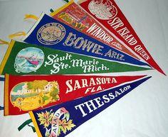 Vintage 1950s Travel Souvenir Pennants