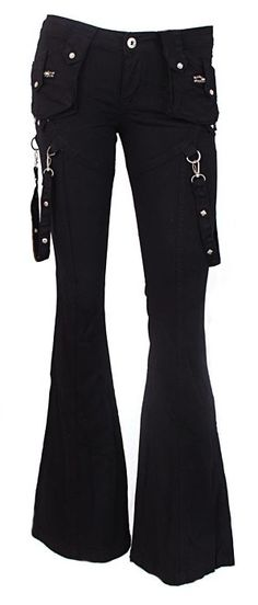 Black Gothic fashion punk flare cargo jeans  pants clothes sexy, awesome! i want a pair!